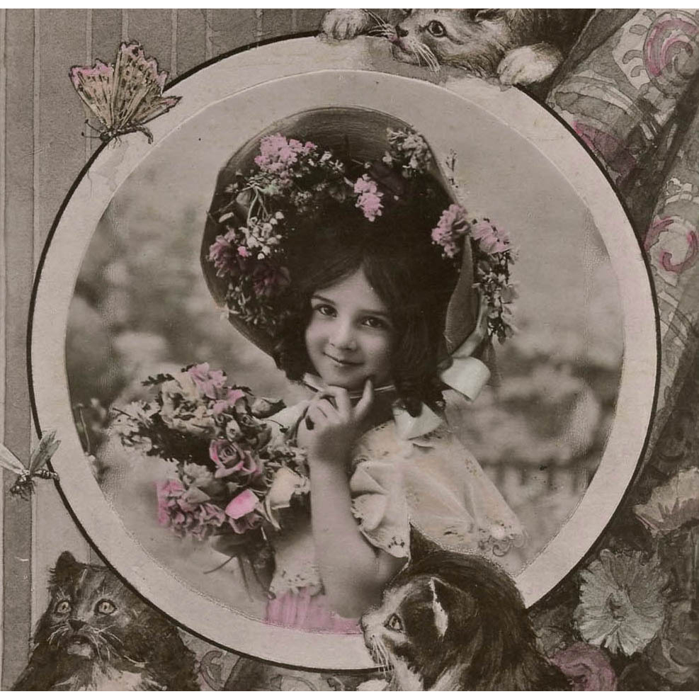 1908 French Postcard Photo Collage of Edwardian Girl with Kittens from frenchkissed on Ruby Lane