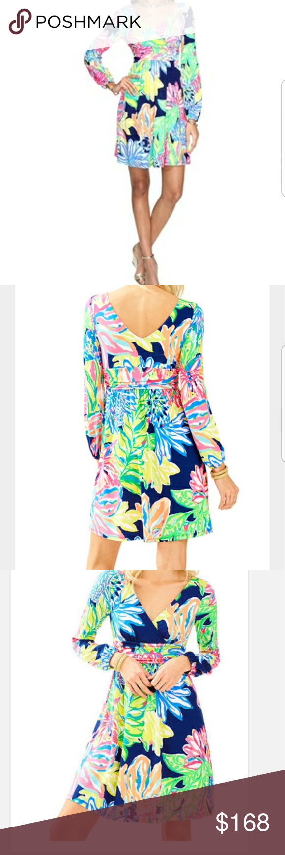 124123e79157bf Lilly Pulitzer Fleur dress Pattern: Resort navy Traveler's Palm Tags are  ripped off but have them Lilly Pulitzer Dresses Mini