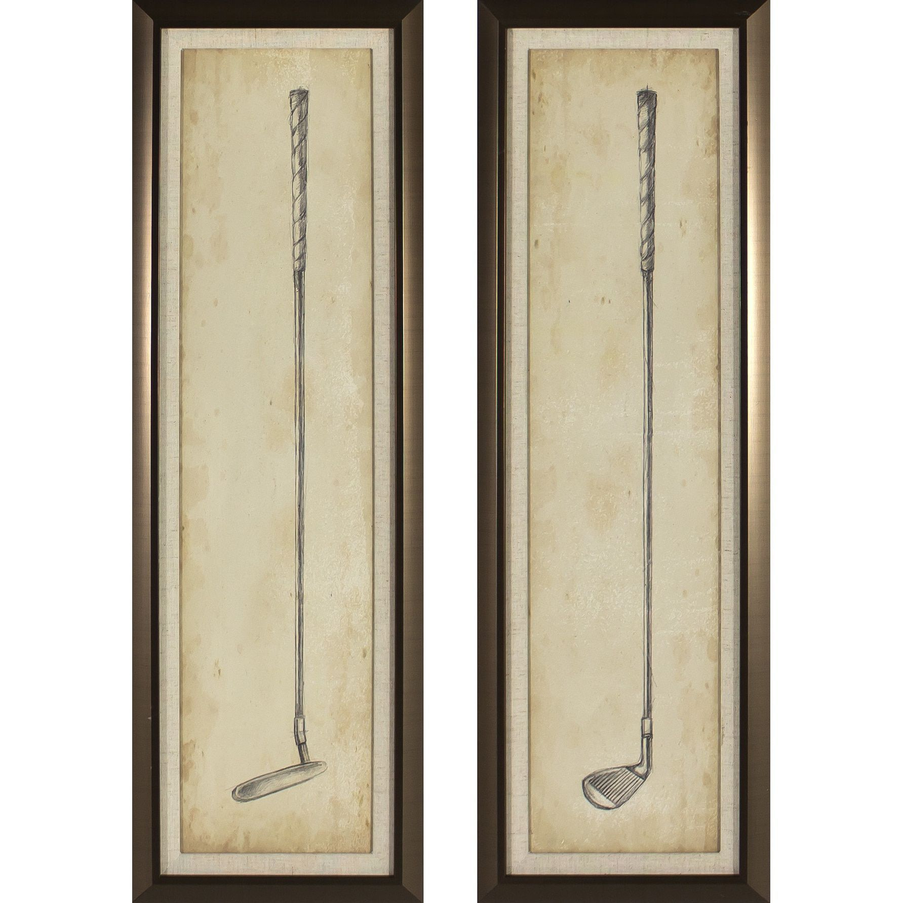 Decor Therapy Vintage Golf Clubs Golden 2-piece Framed Wall Art Set ...