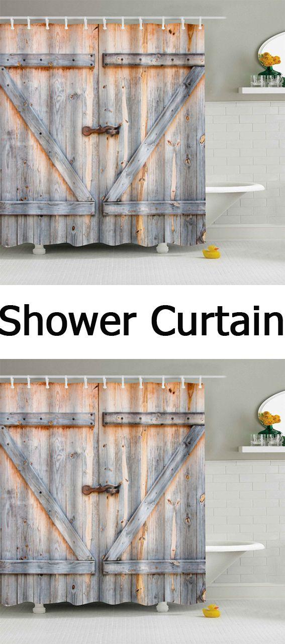 Eco Friendly Dream Wood Door Printing Shower Curtain For Bathroom