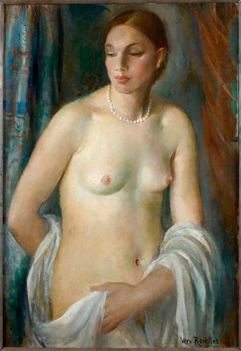 """Vera Rockline """"Nu au collier de perle / Desnudo con collar de perlas / Nude With Pearl Necklace"""" Óleo sobre lienzo / oil on canvas, 92 x 65 cm."""