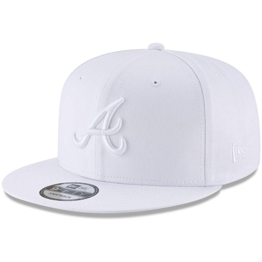 Men S Atlanta Braves New Era White Basic 9fifty Adjustable Snapback Hat In 2020 Snapback Hats Atlanta Braves New Era