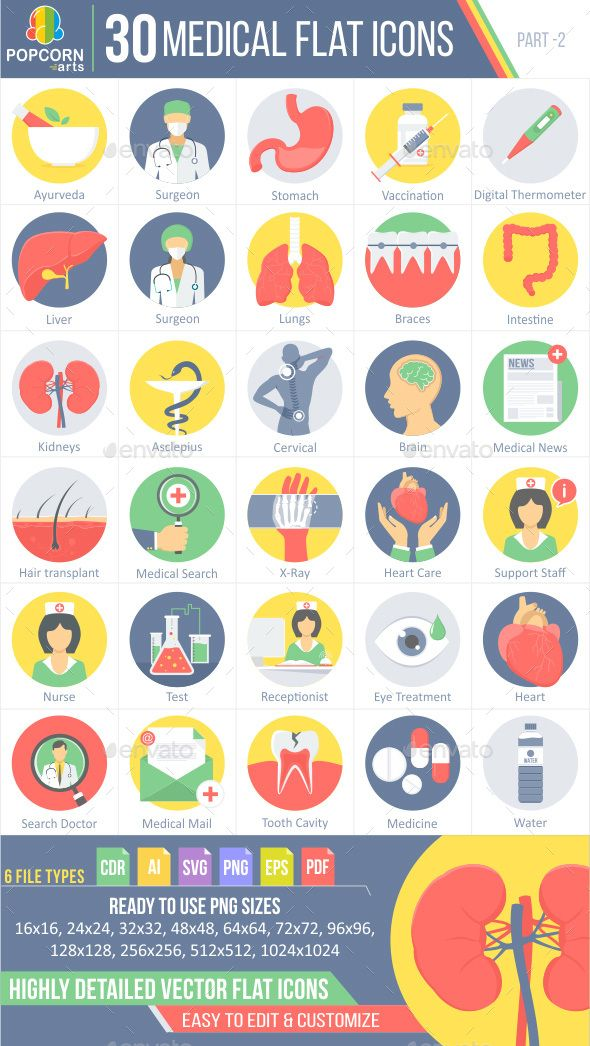 30 Medical Flat Icons Part 2 Flat Icon Icon Business Icon