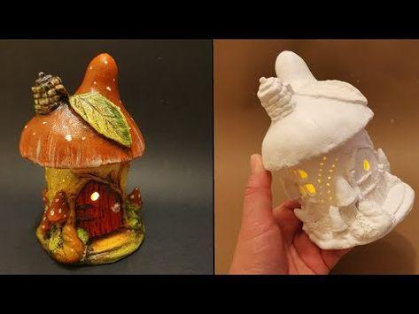 Easy Leaf & Mushroom Fairy House Jar DIY Lantern – Air Dry Clay Tutorial #2