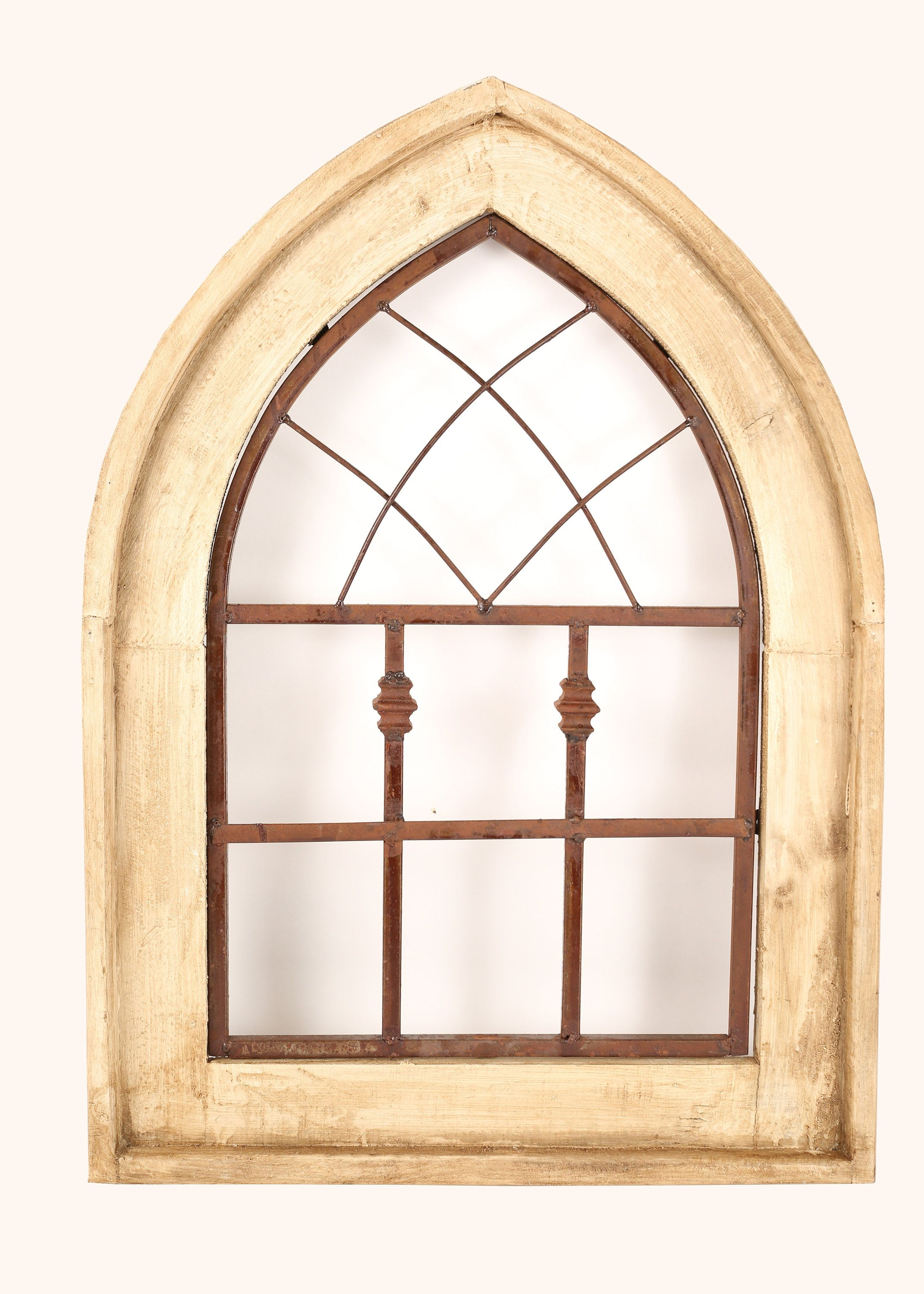 All Saints Gothic Architectural Window Wall Primitive Rustic Garden Patio 21x28 Distressed Farmhouse White Iron And Wood Window Wall Decor Rustic Wood Floors Decor