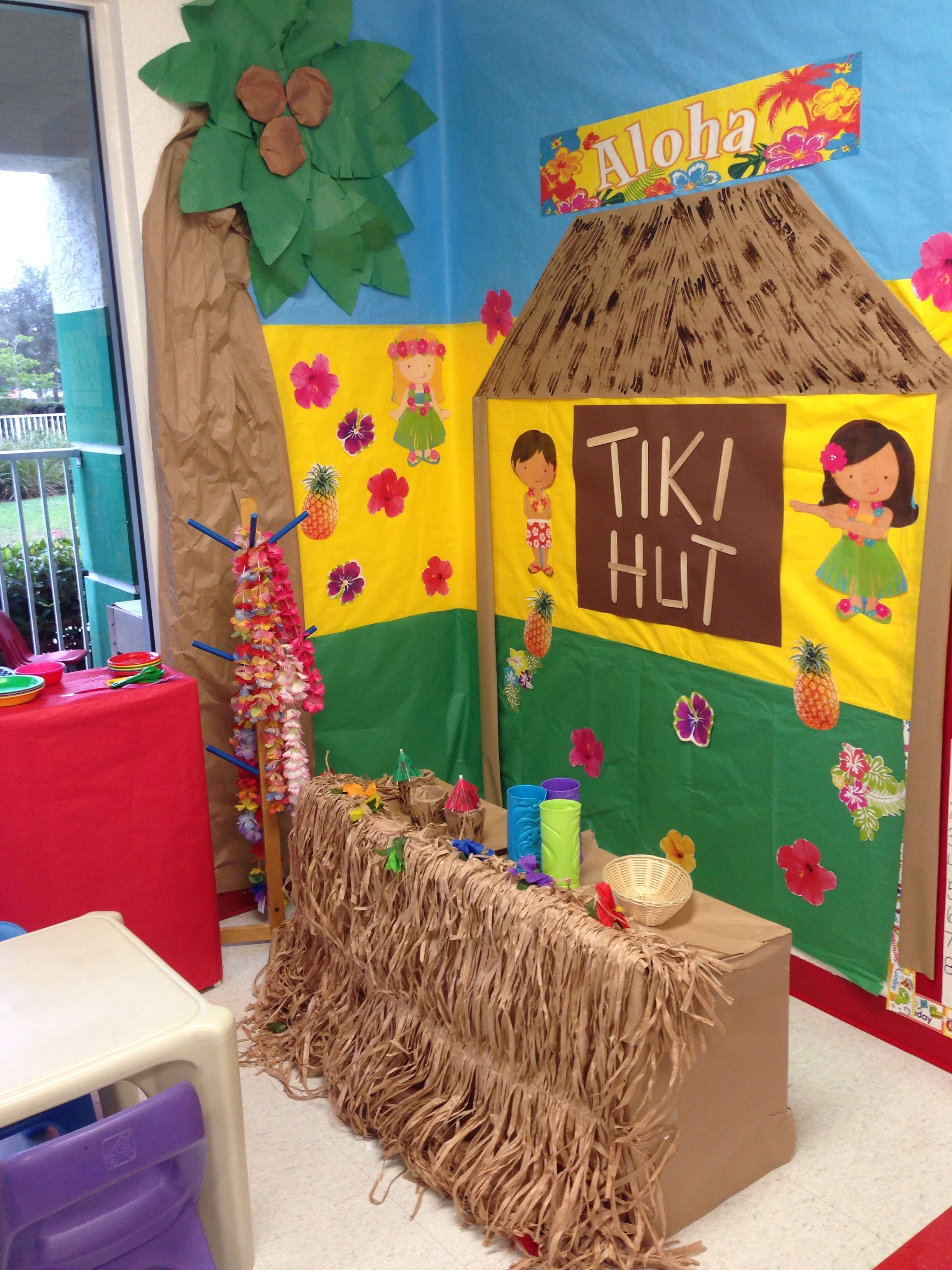 Classroom Luau Ideas ~ Luau dramatic play or reading area beach