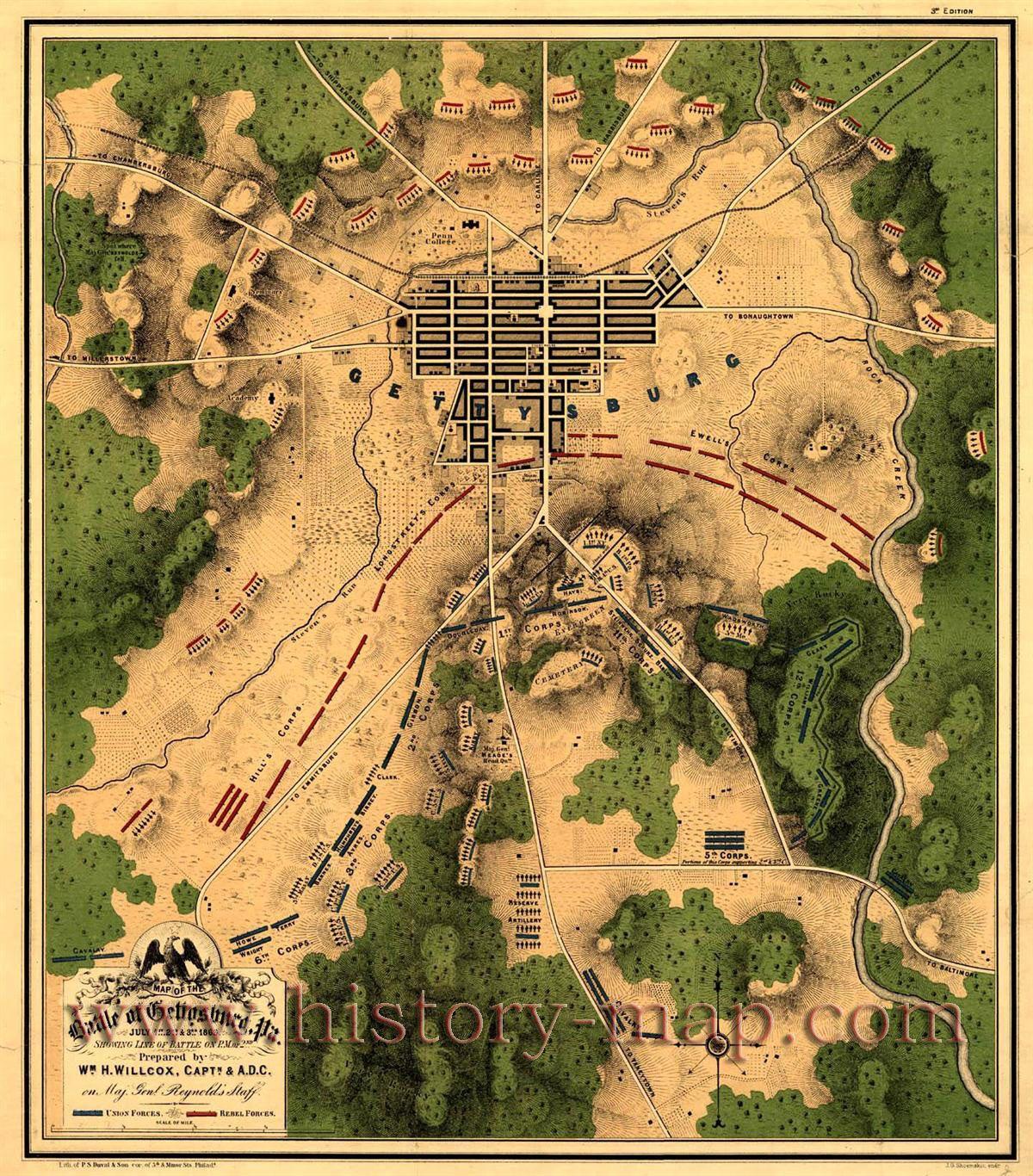 Gettysburg Battle Map Of The Battle Of Gettysburg Pa - Gettysburg pa in us map