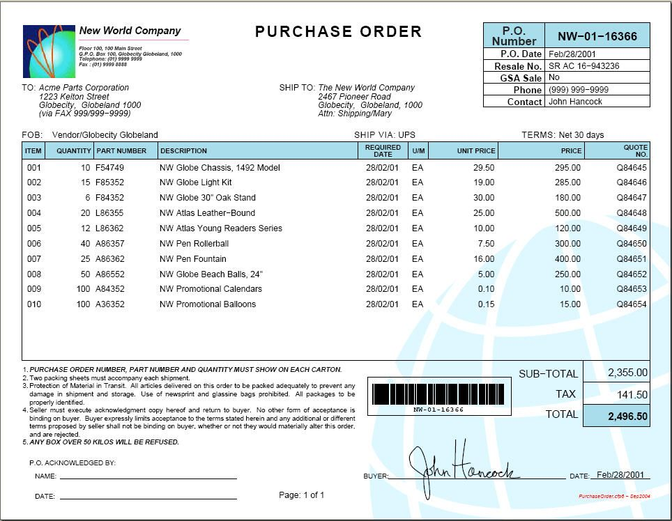 Example purchase order Purchase order form, Purchase