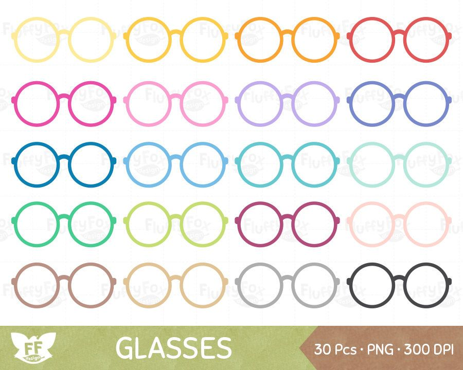 Round Glasses Clipart Spectacles Clip Art Rainbow Eyewear Etsy In 2020 Clip Art Cute Frames Frame Clipart
