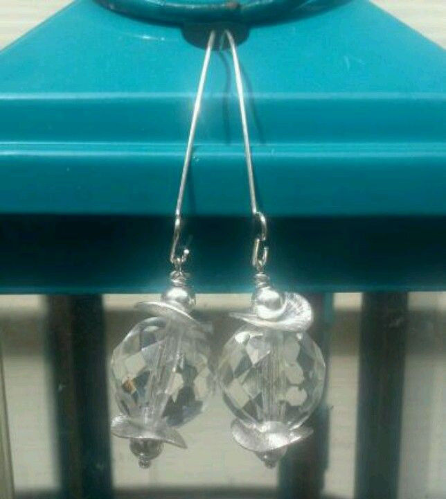 Crystal Drop Earrings #faceted #glass #silver #discs