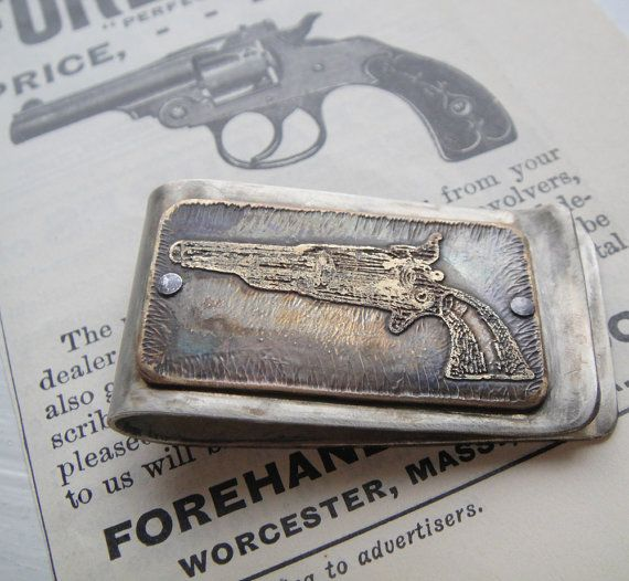 Colt Revolver Pistol Western Etched Money Clip By Janeeroberti