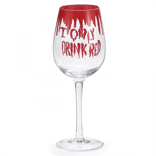 "Halloween wine glass with a drippin blood rim and the fun phrase ""I only drink red"". The perfect way to sip witches brew and wine during Halloween parties."