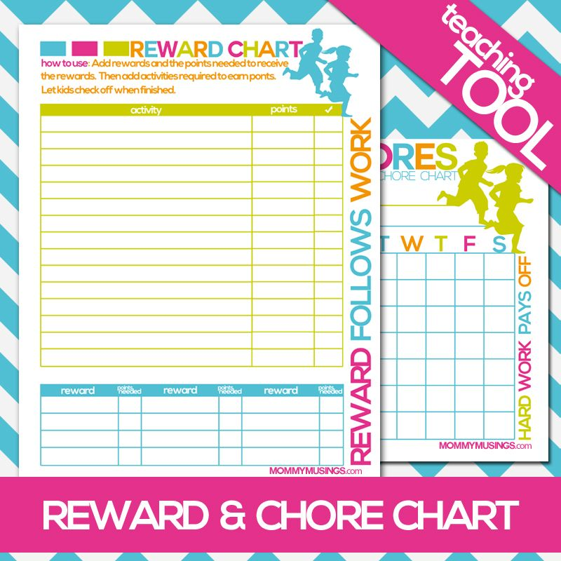 FREE Printable Kids Chore \ Rewards Chart Chore rewards, Free - printable rewards charts