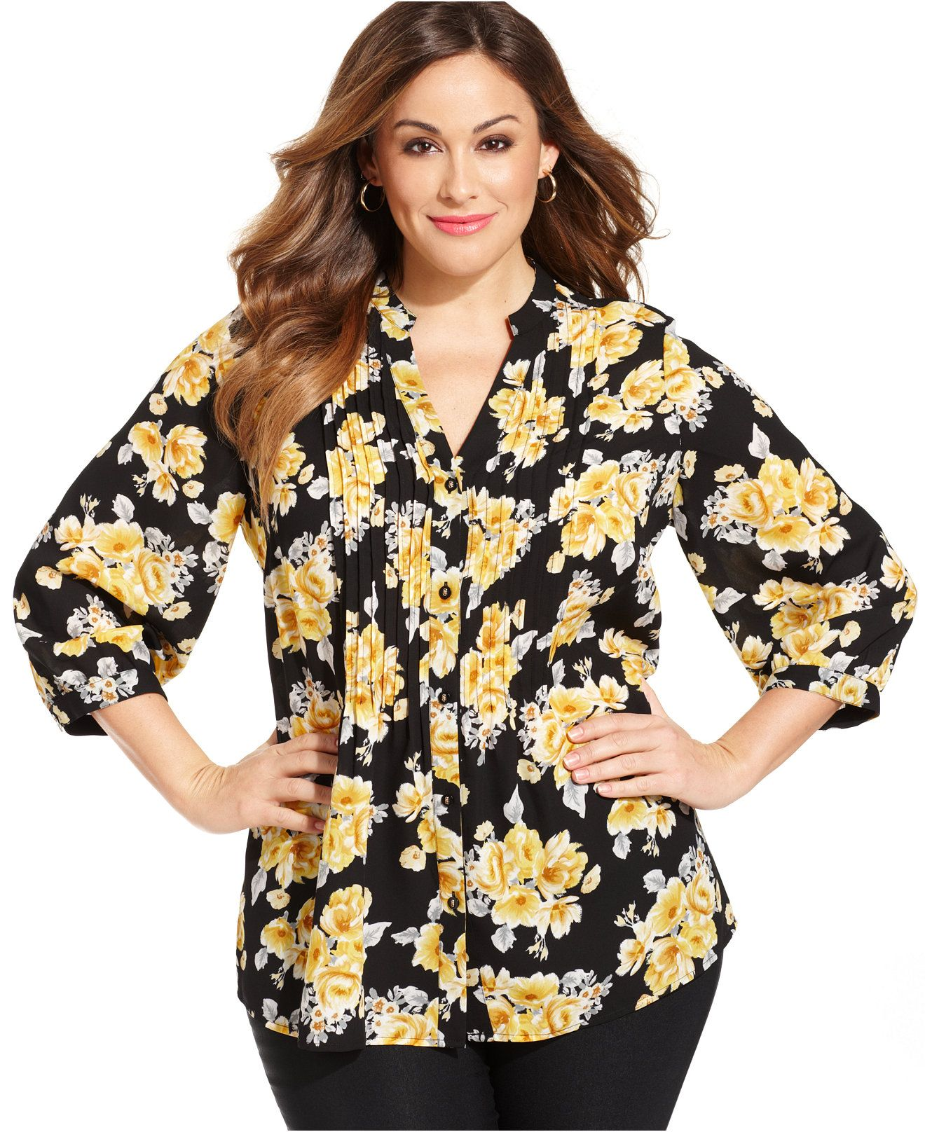 f3b60e4f95cbf Charter Club Plus Size Floral-Print Pintucked Blouse - Tops - Plus Sizes -  Macy s