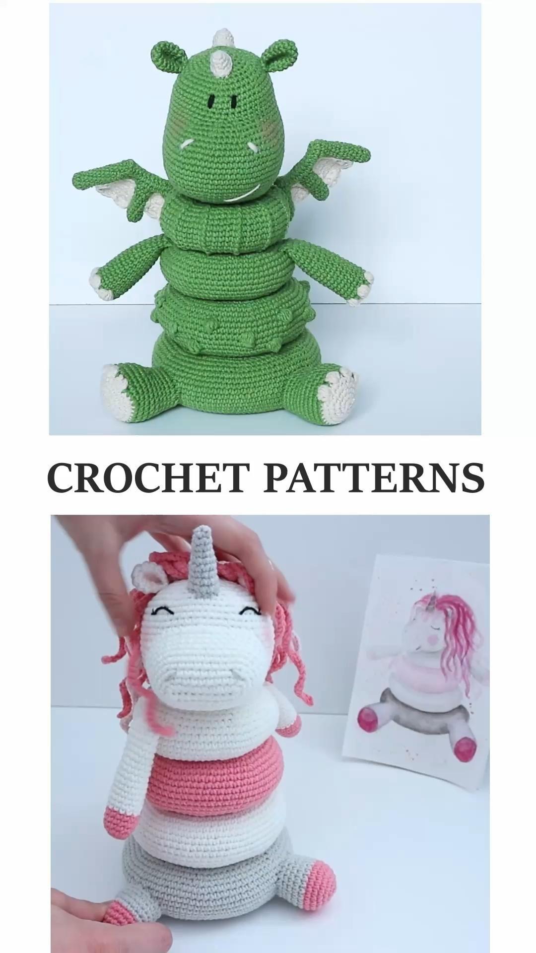 Dragon amigurumi pattern: Stacking Toy Rings, Croc