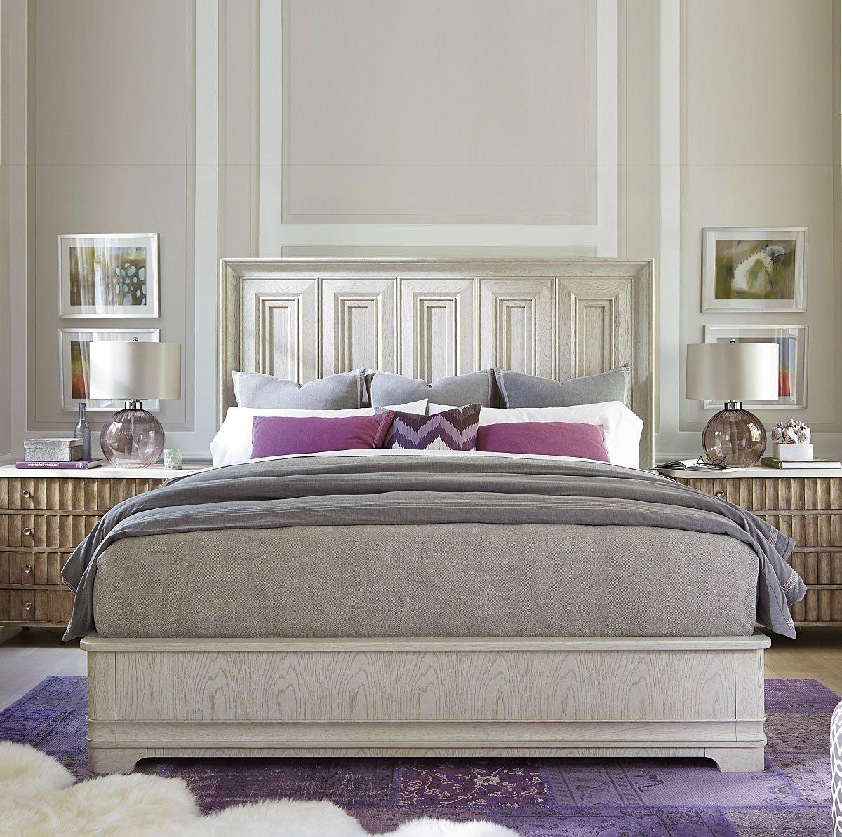 California Rustic White Oak King Panel Bed Universal