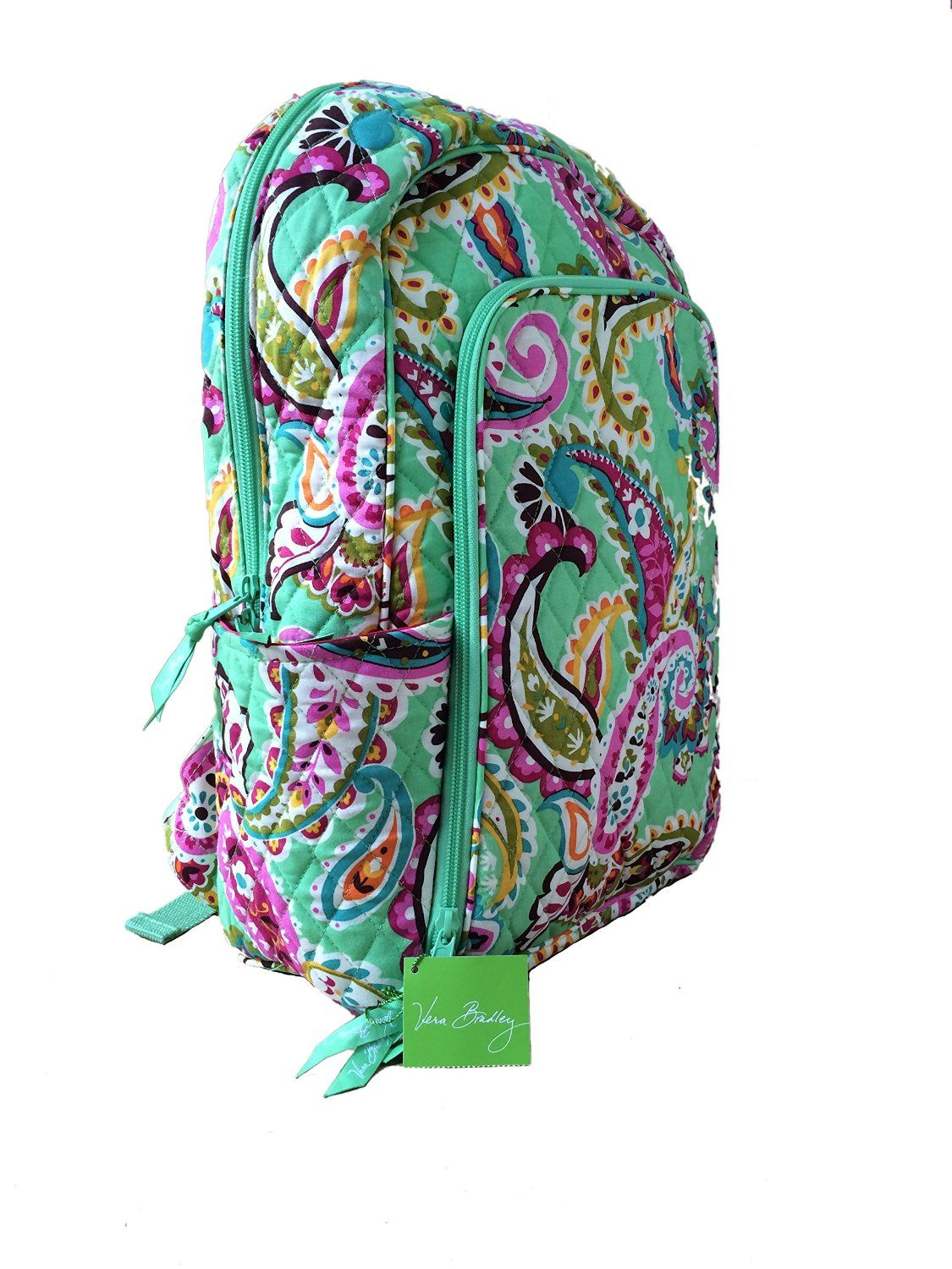 Amazon.com  Vera Bradley Laptop Backpack (Updated Version) with Solid Color  Interiors (Tutti Frutti with Pink Interiors)  Clothing cd4b167afdf15