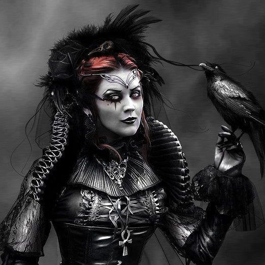 Dark Sorceress with raven. Very #Gothic   Gothic Fashion   Goth art, Victorian goth, Gothic fashion