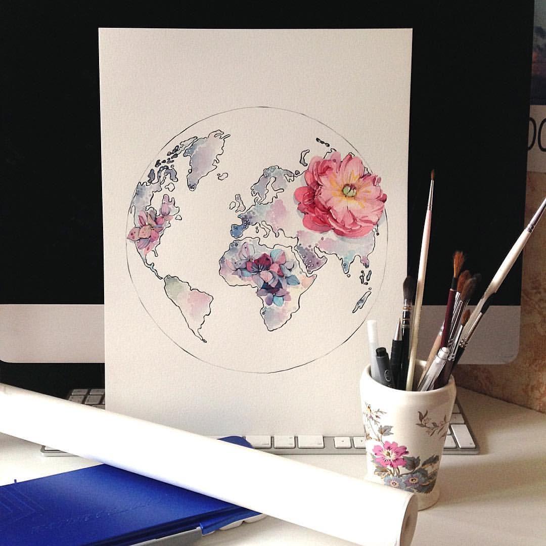 Around The World Watercolor Beautiful Artwork Travel Art