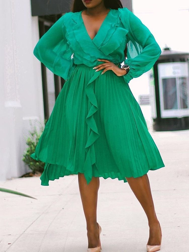 New Women autumn fashion popular falbala long-sleeve elegant makings green dress