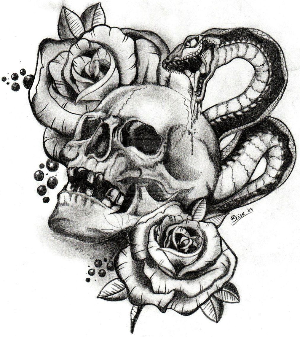 Snake Skull Tattoo: Pin On Tattoo Designs