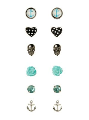 LOVEsick Skull Anchor Heart Rose Earrings 6 Pair