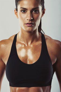 Strong sexy woman pecs