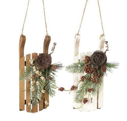 """Pack of 8 Nature's Glow Vintage-Style Rustic Wooden Sled Christmas Ornaments 8"""" by CC Home Furnishings, http://www.amazon.com/dp/B007CBV82Y/ref=cm_sw_r_pi_dp_v9Nhrb0531NYB"""
