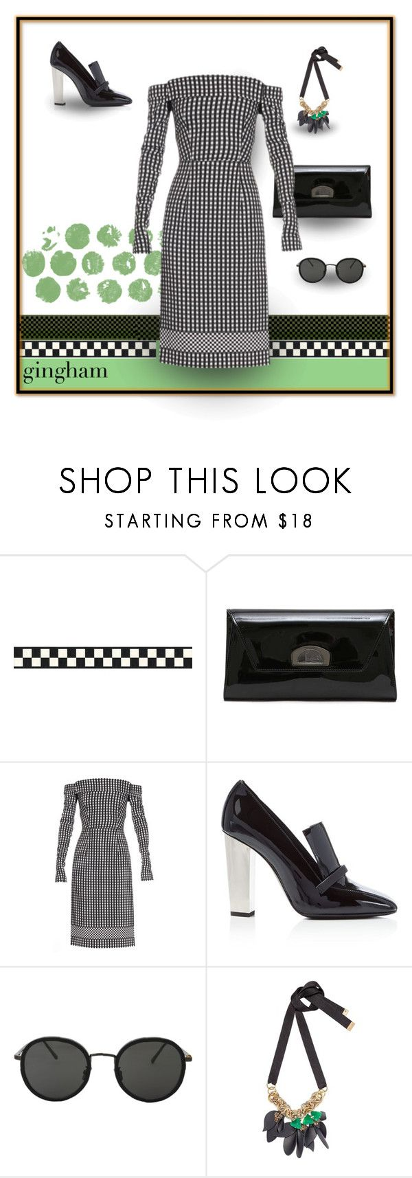"""""""Cold Shoulder"""" by michelletheaflack ❤ liked on Polyvore featuring Christian Louboutin, Preen, Giuseppe Zanotti, Linda Farrow, Marni, gingham, ginghamdress, polyvorecontests and styleinsider"""