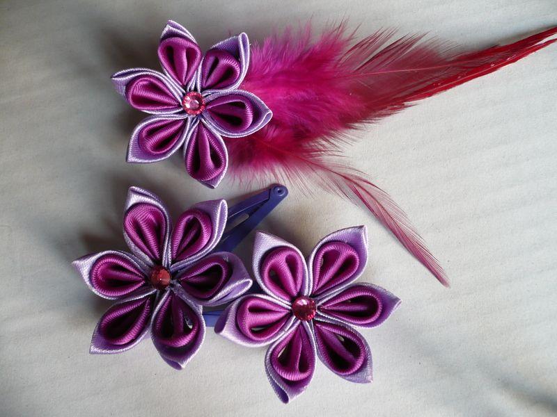 Pasadores y broche de flor kanzashi de Hormiguica Handmade por DaWanda.com