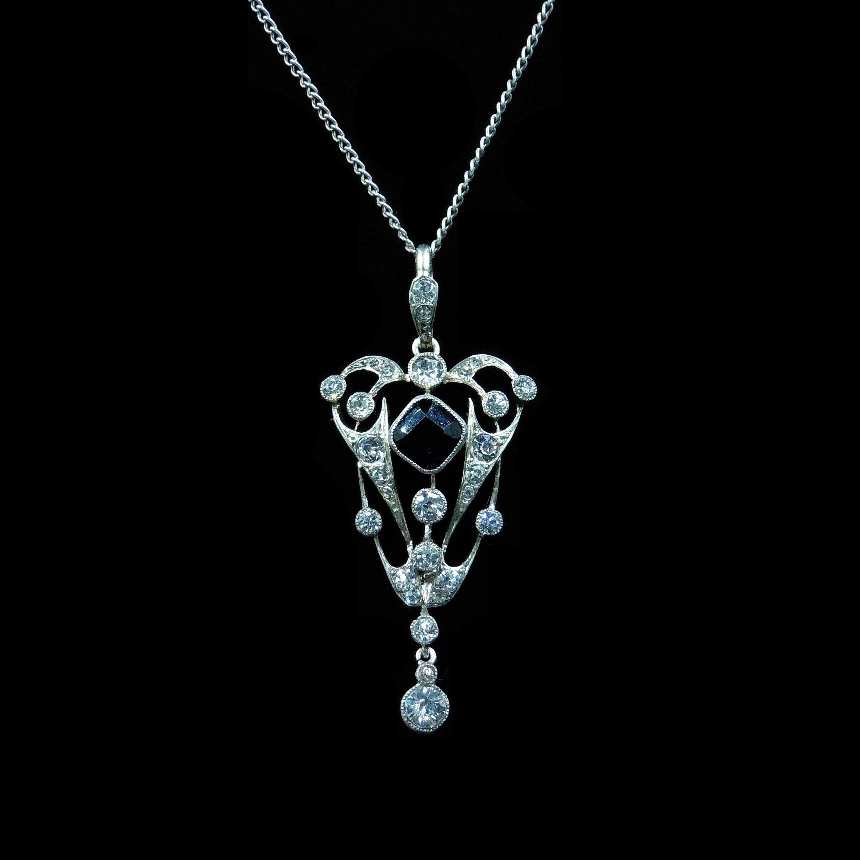 7eca220f13c275 Antique Amethyst Old Cut Paste Lavalier Drop Sterling Silver Pendant and  Chain Necklace | Edwardian Art Deco Necklace