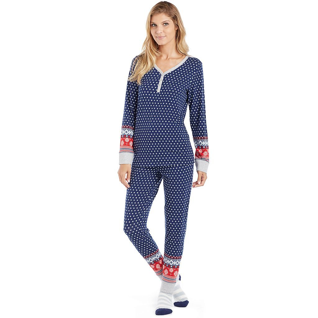 Women S Cuddl Duds Pajamas Winter Wonderland 3 Piece Henley