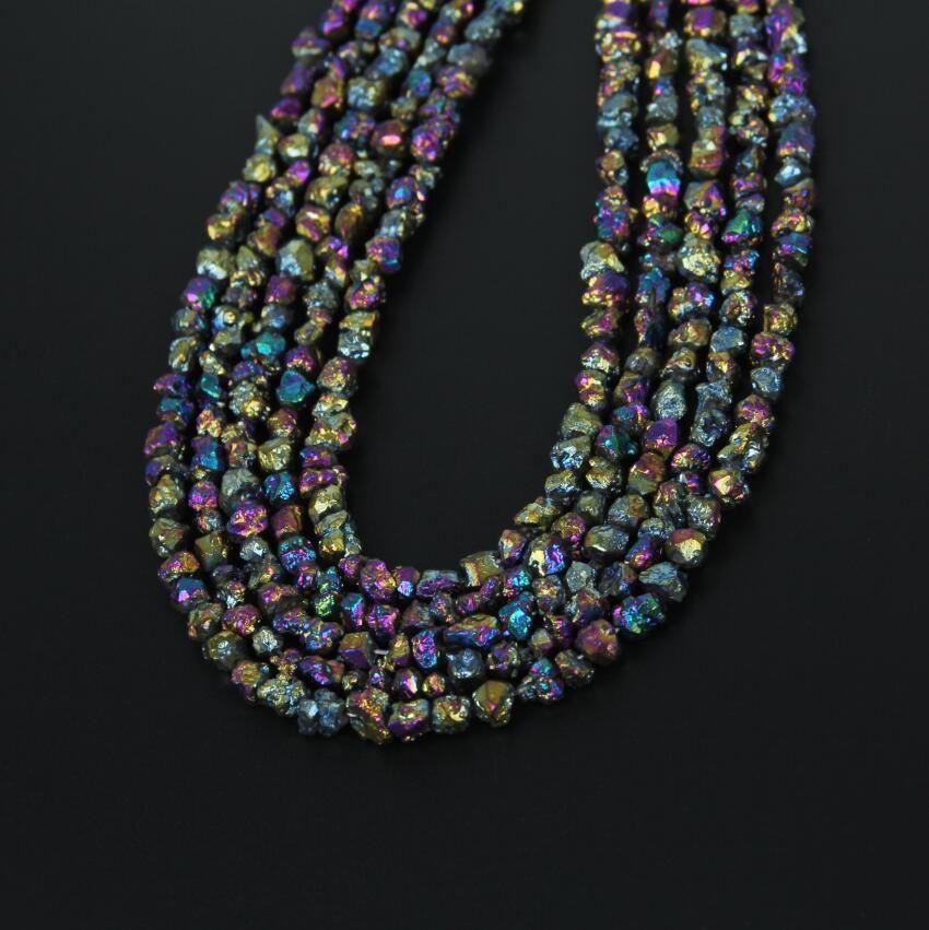 """15.5"""" Tiny Mystic Titanium Rainbow Quartz Chip Loose Beads"""