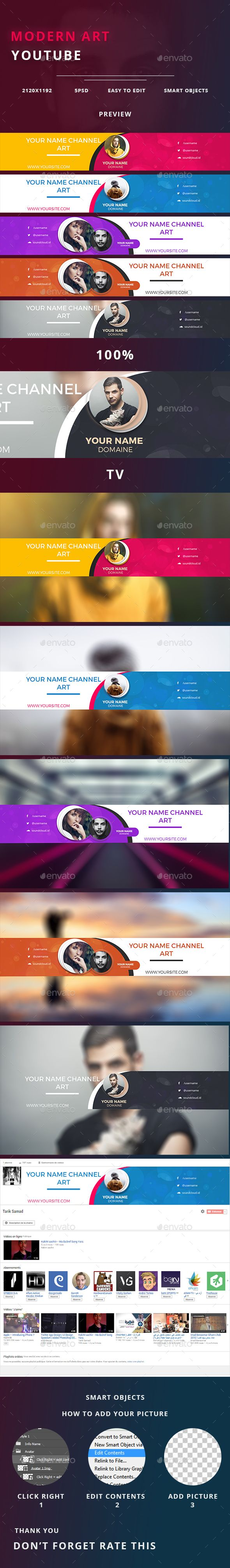 Modern Art Youtube Channel Backgrounds Templates Psd Youtube