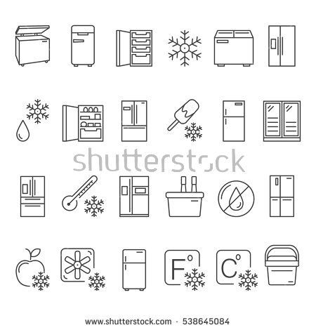 Outline Fridge Icons Signs And Symbols Set Kitchen Appliances Equipment Freeze Refrigerator Line Vector Illustration With Fre Vector Kitchen Icon Symbols