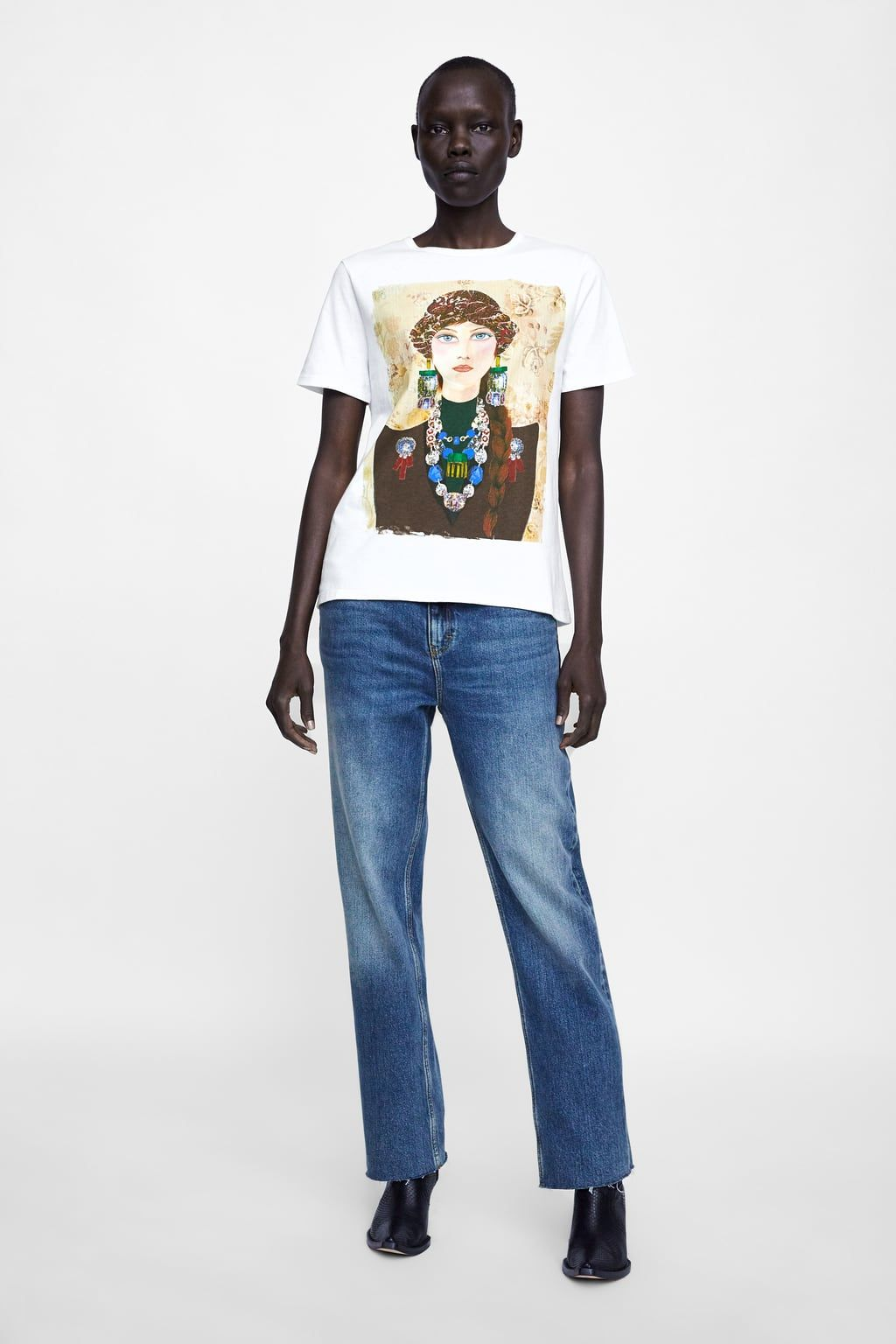953dda7ec6234 Image 1 of T-SHIRT WITH WOMAN PRINT from Zara