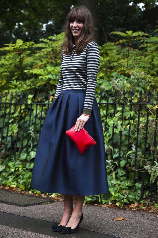 Elle street style midi skirt