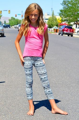 9a1ea5e26 Black White Aztec Little Girl Leggings - My Sisters Closet | Jensen ...