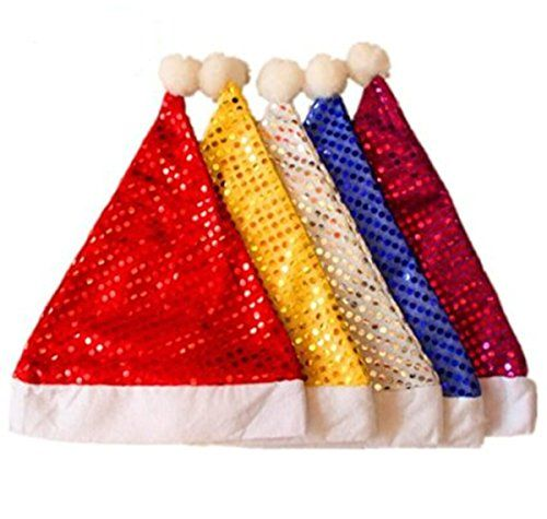 Y&Y Star pack of 5 Sequin Santa Christmas Hat. yellow, white, blue, purple,Red