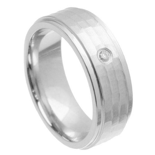 8mm Brushed & High Polished Step Edge Hammered Finish 0.04 ct. Genuine White Diamond Solitaire Cobalt Wedding Band - Size 12. Free Gift Box with Every Purchase. Genuine Natural Diamond. Comfort Fit & Hypoallergenic. Free Standard Shipping on Orders Over $50. 30 Day Money Back Guarantee.