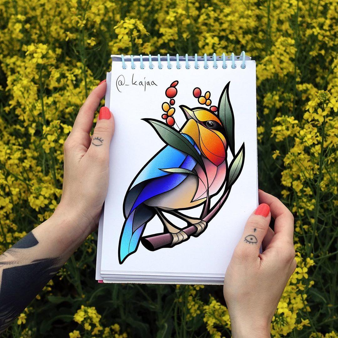 Design By Kajaa Krakow Poland Flash Tattoo Bird Drawings Flower Backgrounds