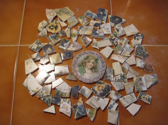 Great lot of floral broken tile pieces Large by KaitydidHeirlooms, $10.00