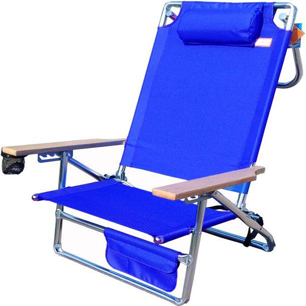 Titan Layflat Aluminum Folding Beach Chair   Blue   Beach Chairs. Heavy Duty  ...