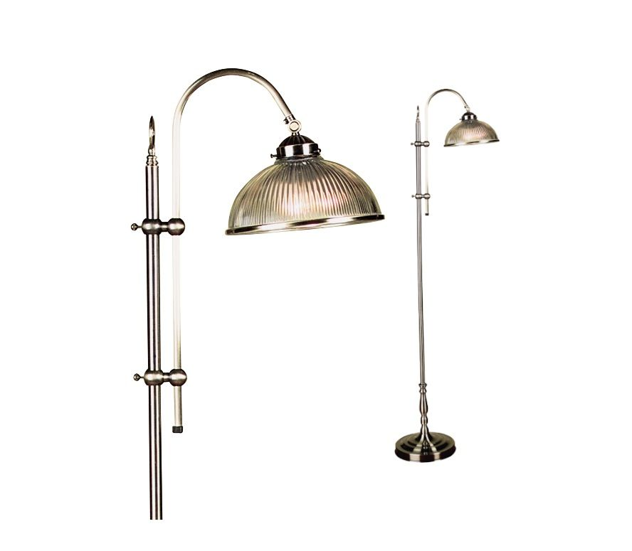 Marina Floor Lamp Antique Brass With Ribbed Glass Shade Mercator 32316,  $208.00