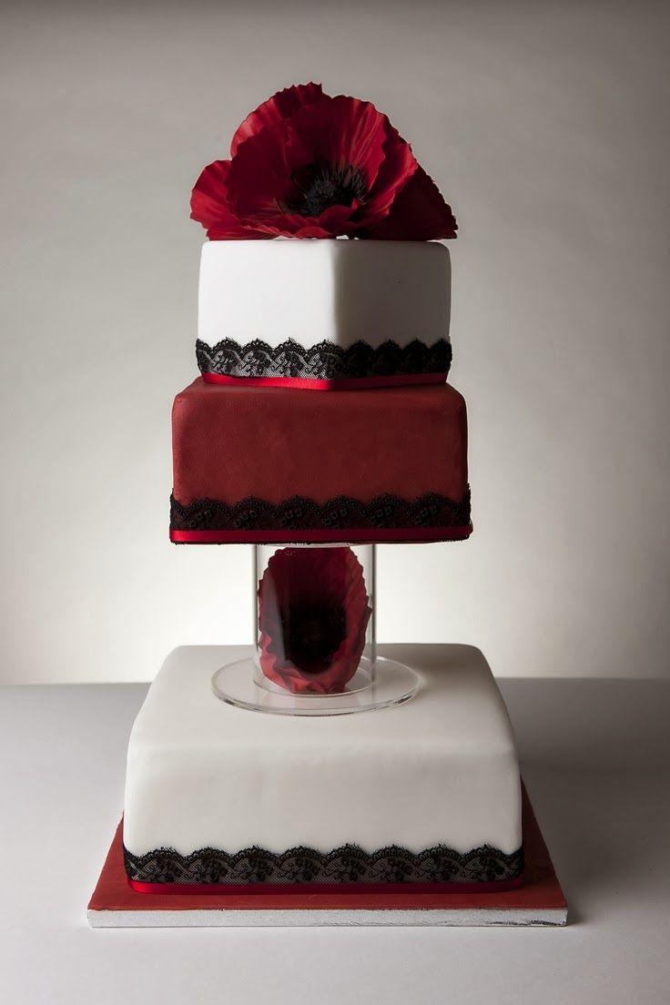 Torta Negrita Rojo y Negro Encaje