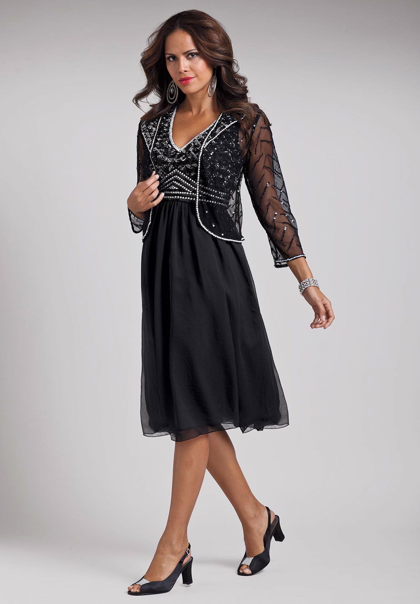 Plus Size Beaded Chiffon Jacket and Empire Dress | Plus Size Special ...