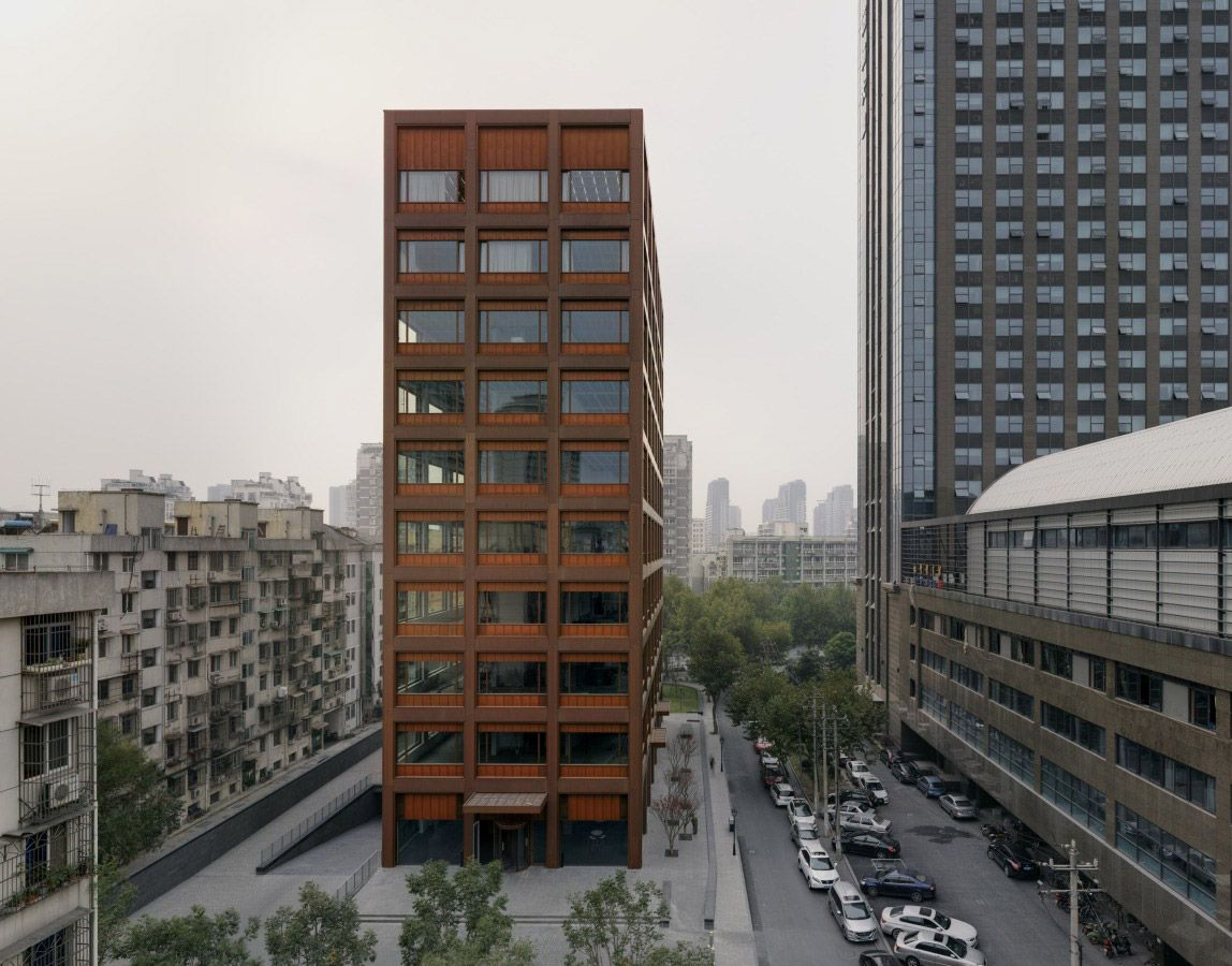 Office building featuring an all copper facade in china un