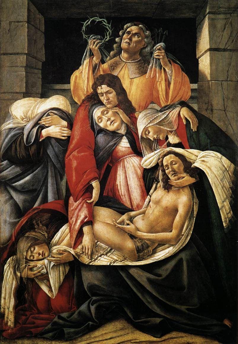 Lamentation over the Dead Christ. Lamentación por Cristo muerto. Sandro Botticelli. 1495-1500. Tempera on Panel. 106 X 71. Museo Moldi Pezzoli. Milan.