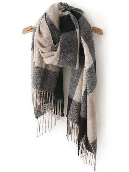 Écharpe classique avec franges motif plaid -Noir gris -French  SheIn(Sheinside) 322b4470ce9