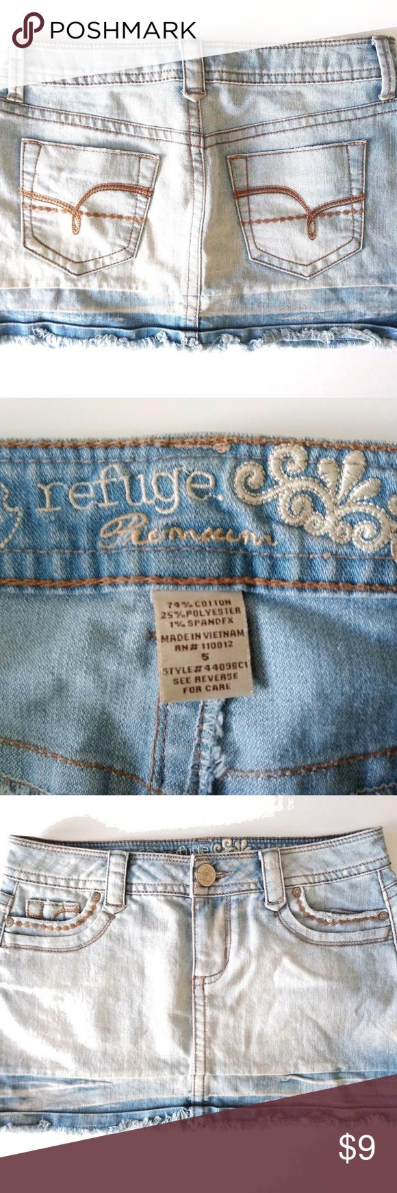 00c3350a4 Refuge Premium Women's Denim Blue Jean Mini Skirt Refuge Premium Denim Blue  Jean Skirt Women's Size